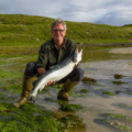 Food over 50 host David Jackson in Scotland with large salmon