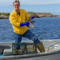 Food Over 50 host David Jackson in Scotland shooting lobster segment for protein episode
