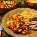 Roasted lamb and ratatouille as prepared by PBS TV show food over 50