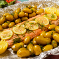 Baked salmon and potatoes as prepared by PBS tv show food over 50.